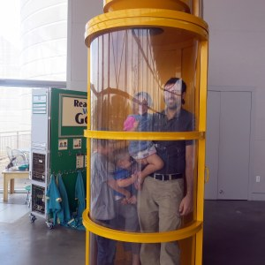 Will and the kids tried out a tornado simulation. It was windy in there!