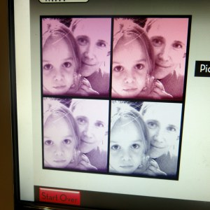Desiree and I messed with pixels to create this pink and purple picture of ourselves.